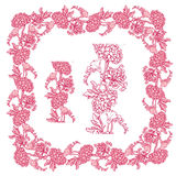 Set of ornaments in pink and red colors - decorative handdrawn f Royalty Free Stock Photo
