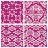 Set of ornaments, seamless floral patterns with tropical flowers. And leaves on purple background Stock Photos