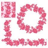 Set ornamenty dekoracyjna kwiecista granica, okrąg rama i s -, Fotografia Stock