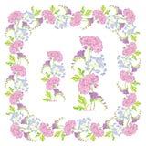 Set ornamenty - dekoracyjna ręka rysująca kwiecista rama i granica Zdjęcia Stock