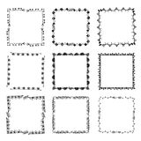 Set of ornate black picture frames isolated on white. Free hand drawing of picture frame vector illustration on white isolated Stock Photography