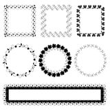 Set of ornate black picture frames isolated on white Royalty Free Stock Photo