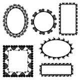 Set of ornate black picture frames isolated on white Royalty Free Stock Image