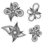 Set of ornate black and white  floral design elements with Stock Photography