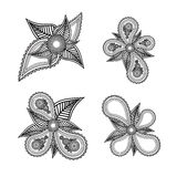 Set of ornate black and white vector floral design elements with Royalty Free Stock Photo