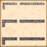 Set of ornate borders with decorative corner Royalty Free Stock Images