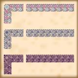 Set of ornate borders with decorative corner elements,  Stock Image