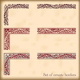 Set of ornate borders with decorative corner elements, vector. Corners and modular borders to create frames at any size Royalty Free Stock Image