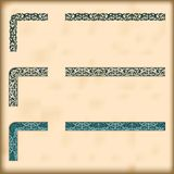 Set of ornate borders with decorative corner elements, vector. Corners and modular borders to create frames at any size Royalty Free Stock Photos