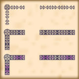 Set of ornate borders with decorative corner elements, vector Stock Photos