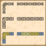 Set of ornate borders with decorative corner elements, vector Royalty Free Stock Photography
