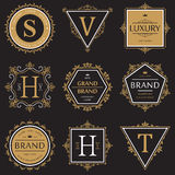 Set of ornate brand or product banner and logo Stock Image