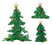 Set of ornate Christmas trees. With stars Stock Photo