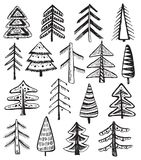 Set of ornate doodle Christmas trees Stock Images