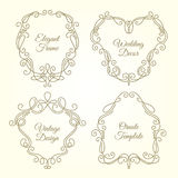 Set of ornate floral frames in monogram linear style with place for text Royalty Free Stock Photo