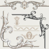 Set of Ornate Flourishes. A set of illustrations of ornate flourish borders, corners and artwork Royalty Free Stock Images