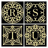 Set of ornate frame monogram for cards, wedding invitations, menus, labels. Collection of design elements for the letters R, S, T,. U Golden signs on black Royalty Free Stock Photos