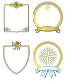 Set of Ornate Gold Shields Royalty Free Stock Photography