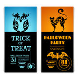 Set Of Ornate Halloween party invitation banner Stock Photography