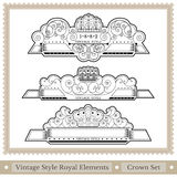 Set of ornate headpieces royal style Stock Photo