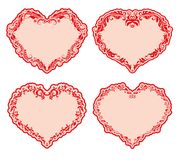 Set of ornate heart frames . Royalty Free Stock Photos