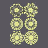 Set of ornate monograms. Vector rounded ornaments with floral el. Vector rounded ornaments with floral elements for invitation, and greeting card. set of ornate Royalty Free Stock Photos