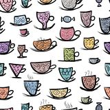 Set of ornate mugs. Seamless pattern for your Stock Image