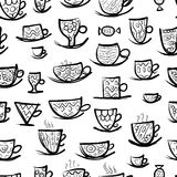 Set of ornate mugs. Seamless pattern for your Stock Photography