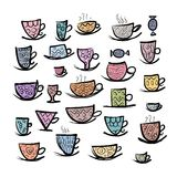 Set of ornate mugs. Sketch for your design Stock Photo