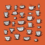 Set of ornate mugs. Sketch for your design Royalty Free Stock Images