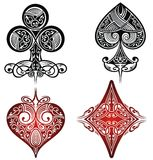 A set of ornate playing card. Tattoo set Stock Images