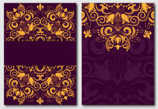 Set of ornate template for design invitations and greeting cards.  Stock Images