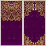 Set of ornate templates for banners or greeting card with ornaments in oriental style. Stock Photos