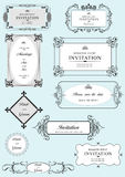 Set of ornate vector frames and ornaments. With sample text. Perfect as invitation or announcement. All pieces are separate. Easy to change colors and edit Stock Photos