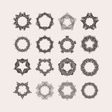 Set of ornate vector mandala borders and frames. Gothic lace tattoos. Celtic weave with sharp corners. Royalty Free Stock Photo