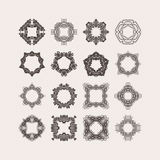 Set of ornate vector mandala borders and frames. Gothic lace tattoos. Celtic weave with sharp corners. Stock Image