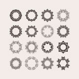 Set of ornate vector mandala borders and frames. Gothic lace tattoos. Celtic weave with sharp corners. Royalty Free Stock Images