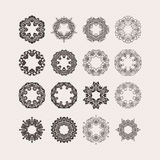Set of ornate vector mandala borders and frames. Gothic lace tattoos. Celtic weave with sharp corners. Royalty Free Stock Photography
