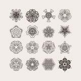 Set of ornate vector mandala symbols. Gothic lace tattoo. Celtic weave with sharp corners. Royalty Free Stock Images