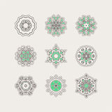 Set of ornate vector mandala symbols. Gothic lace tattoo. Celtic weave with sharp corners. Royalty Free Stock Image