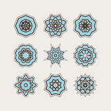 Set of ornate vector mandala symbols. Gothic lace tattoo. Celtic weave with sharp corners. Royalty Free Stock Photography