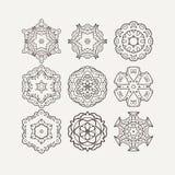 Set of ornate vector mandala symbols. Mehndi lace tattoo. Oriental weave. The circular pattern Royalty Free Stock Photo