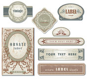 Set of ornate vintage labels. Vector set of ornate page decor Stock Image