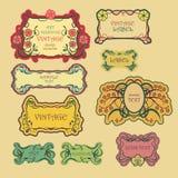 Set of ornate vintage labels. Stock Images