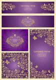 Set of ornate violet templates and banners with floral golden pattern Royalty Free Stock Images