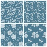 Set of ornated floral seamless texture Stock Image
