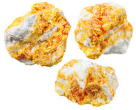 Set of Orpiment mineral stones on dolomite Stock Images