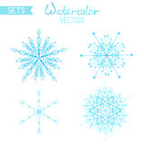 Set os watercolour snowflakes. Royalty Free Stock Photo