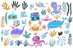 Set osean elements1 ilustracja wektor