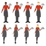 Set osiem kelnerów mężczyzn i dziewczyny ilustracja wektor